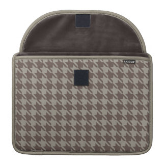 Houndstooth Checks Pattern in Grey Browns Sleeve For MacBook Pro