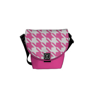 Houndstooth Checks Pattern in Pink and White Courier Bags