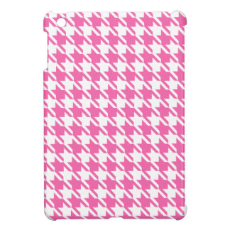 Houndstooth Checks Pattern in Pink and White iPad Mini Case