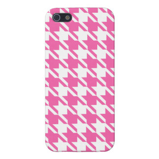 Houndstooth Checks Pattern in Pink and White iPhone 5 Case