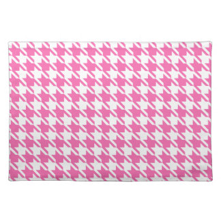 Houndstooth Checks Pattern in Pink and White Placemat