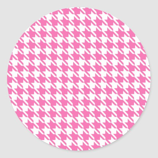 Houndstooth Checks Pattern in Pink and White Sticker