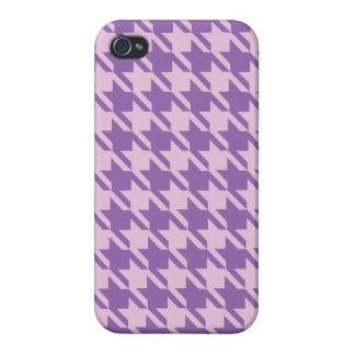 Houndstooth Checks Pattern in Shades of Purple Case For The iPhone 4