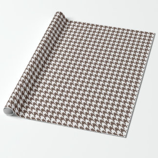 Houndstooth Chocolate Brown Wrapping Paper