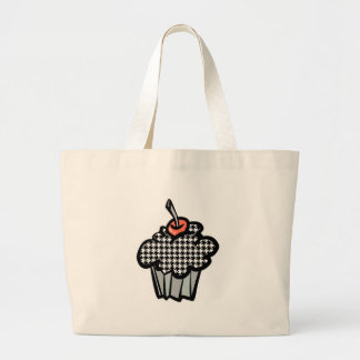 houndstooth cupcake large tote bag