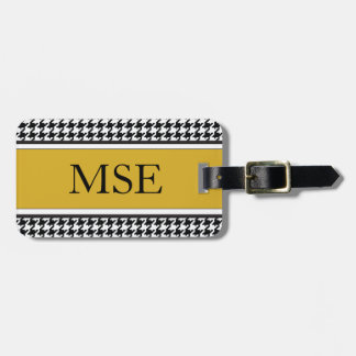 Houndstooth Custom Monogram Pattern | Gold Luggage Tag