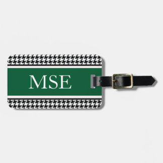 Houndstooth Custom Monogram Pattern | Hunter Green Luggage Tag