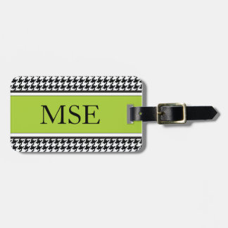 Houndstooth Custom Monogram Pattern | Lime Green Luggage Tag