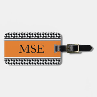Houndstooth Custom Monogram Pattern | Orange Luggage Tag