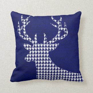 Houndstooth Deer Silhouette on Burlap | navy Throw Cushions