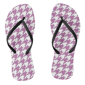 Houndstooth design in bodacious and white flip flops