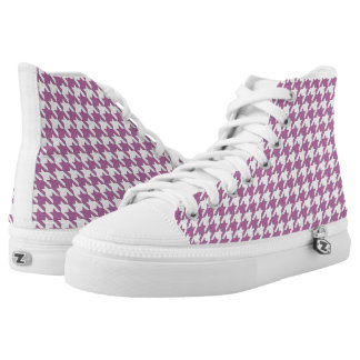 Houndstooth design in bodacious and white high tops