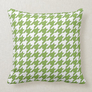 Houndstooth design in greenery and white cushion