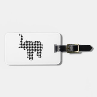 Houndstooth Elephant Luggage Tag