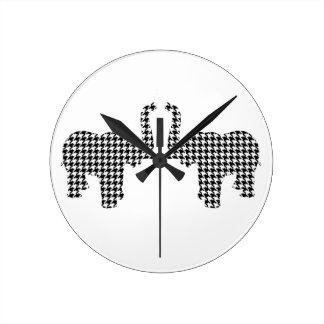 Houndstooth Elephant Round Clock