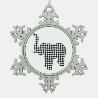 Houndstooth Elephant Snowflake Pewter Christmas Ornament