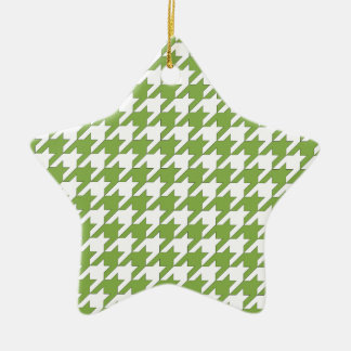 houndstooth greenery and white christmas ornament