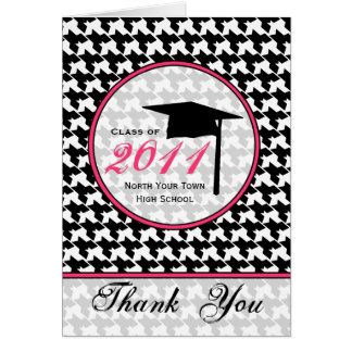 Houndstooth / Hot Pink Graduation Thank You 2011 Greeting Card