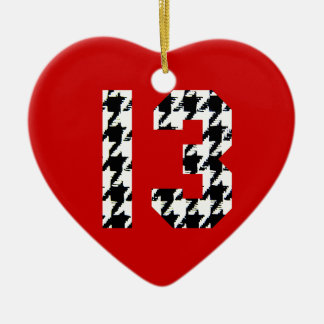 Houndstooth Lucky Number 13 Ceramic Heart Decoration