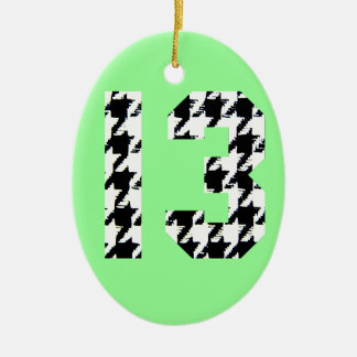 Houndstooth Lucky Number 13 Christmas Tree Ornament