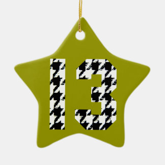 Houndstooth Lucky Number 13 Ceramic Star Decoration