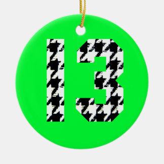 Houndstooth Lucky Number 13 Round Ceramic Decoration