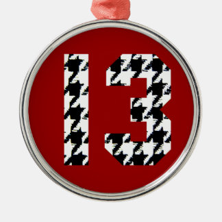 Houndstooth Lucky Number 13 Silver-Colored Round Decoration