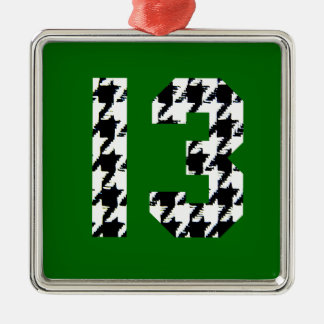 Houndstooth Lucky Number 13 Silver-Colored Square Decoration