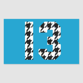 Houndstooth Lucky Number 13 Rectangle Stickers