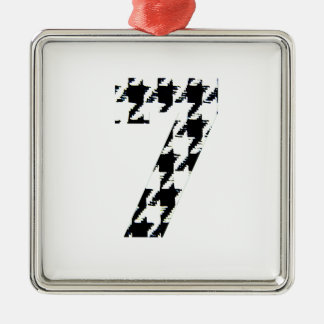 Houndstooth Lucky Seven Silver-Colored Square Decoration