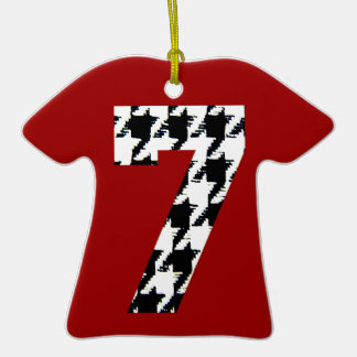 Houndstooth Lucky Seven Christmas Tree Ornaments