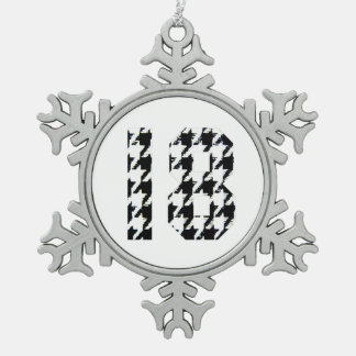 Houndstooth Number 18 Snowflake Pewter Christmas Ornament