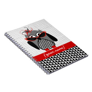 Houndstooth Owl Personalised Notebook