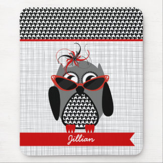 Houndstooth Owl Personalized Mousepad