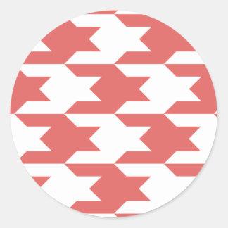 Houndstooth Pattern 1 Cayenne Round Sticker
