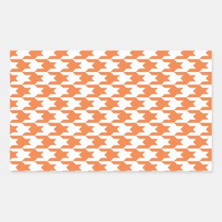 Houndstooth Pattern 1 Celosia Orange Rectangle Sticker