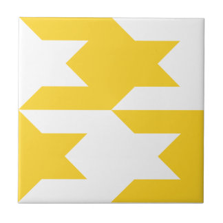 Houndstooth Pattern 1 Freesia Ceramic Tile
