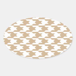 Houndstooth Pattern 1 Sand Oval Sticker