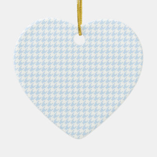 Houndstooth pattern - baby blue ceramic heart decoration