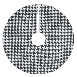 Houndstooth Pattern Black and White Brushed Polyester Tree Skirt