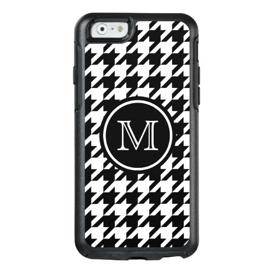 Houndstooth Pattern Black and White Monogram OtterBox iPhone