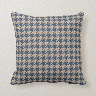 Houndstooth Pattern Denim Blue and Tan Cushion