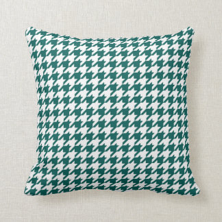 Houndstooth Pattern Forest Green and White Cushion