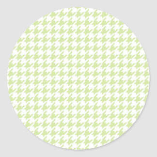 Houndstooth pattern - girly green round stickers