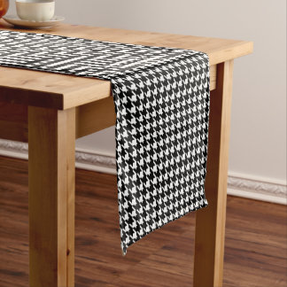 Houndstooth Pattern in Black and White Short Table Runner