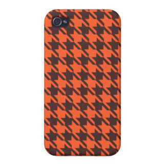 Houndstooth Pattern in Brown and Orange Case For The iPhone 4