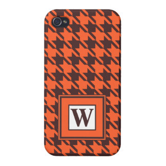Houndstooth Pattern in Brown and Orange iPhone 4/4S Cases