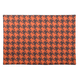 Houndstooth Pattern in Brown and Orange Placemat