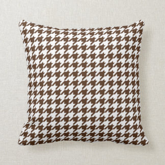 Houndstooth Pattern in Dark Brown and White Cushion