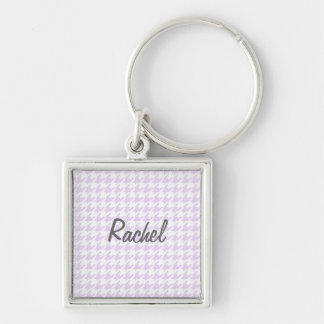Houndstooth pattern - lilac purple key ring